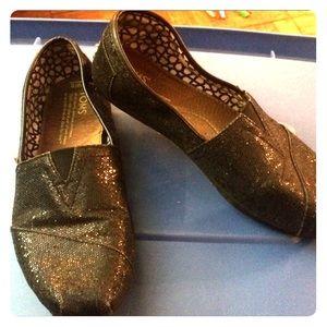 Women's Black Glitter Toms